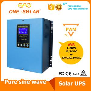 1200W 12VDC 24VDC 工频纯正弦波逆控一体机 内置PWM太阳能控制器 太阳能充电
